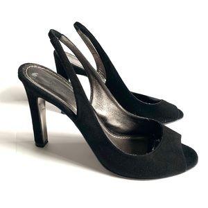 Diane von furstenberg black suede slingback heels